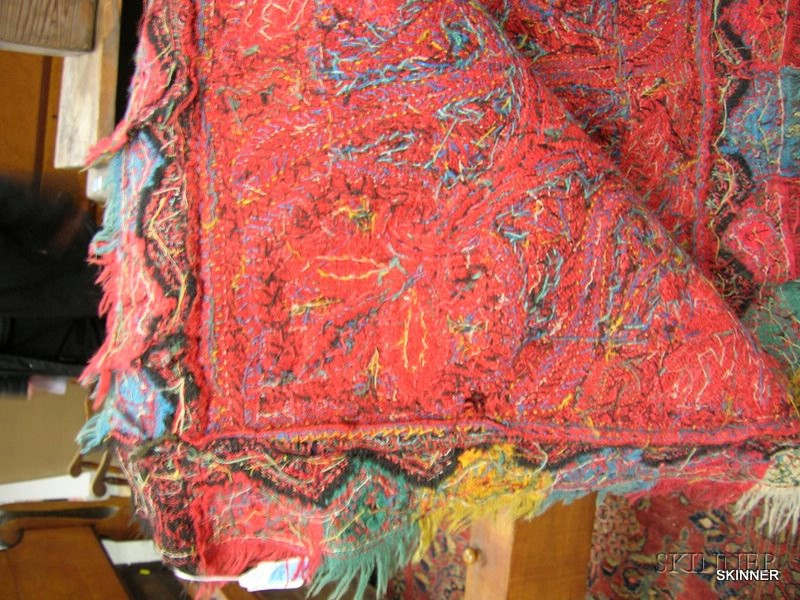 Kashmir Embroidered Pieced Wool Paisley Shawl.      Estimate $300-400