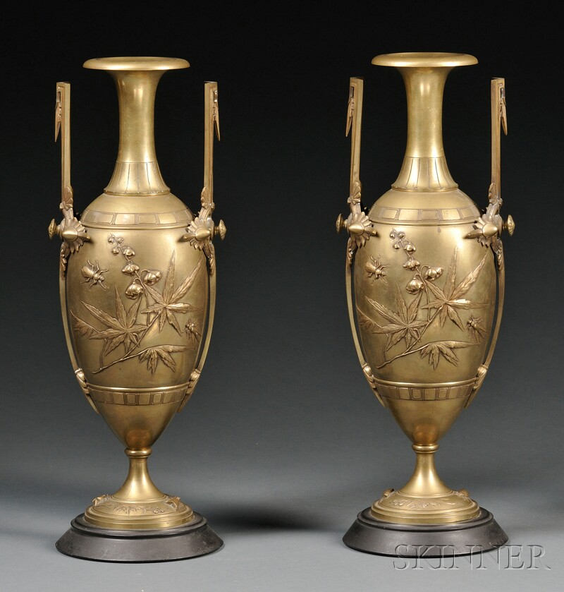 Pair of Aesthetic Movement Bronze Mantel Garnitures