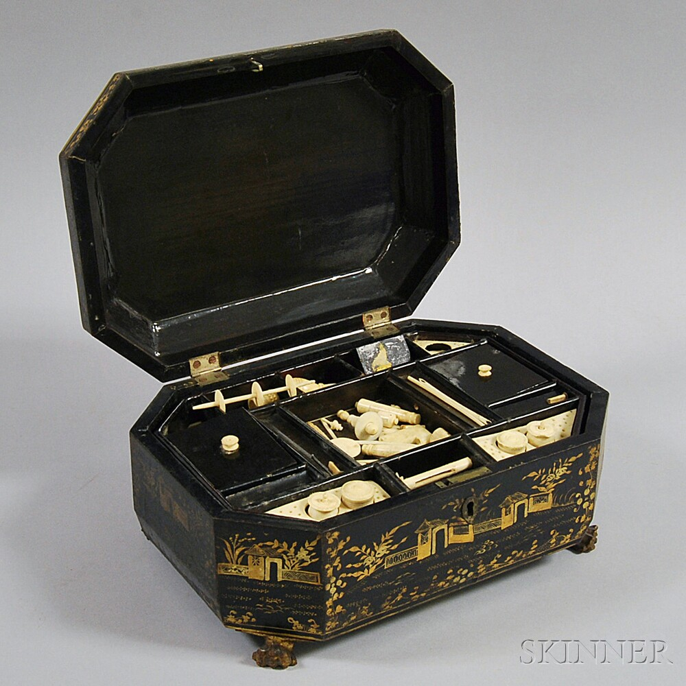 Chinese Export Black-lacquered Sewing Box