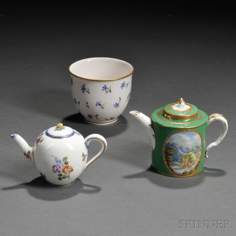 Three Sevres Porcelain Tea Wares