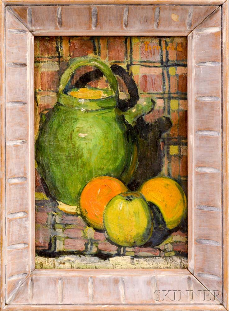Rodolphe Fornerod (Swiss, 1877-1953)      Still Life with Oranges and Green Pot.