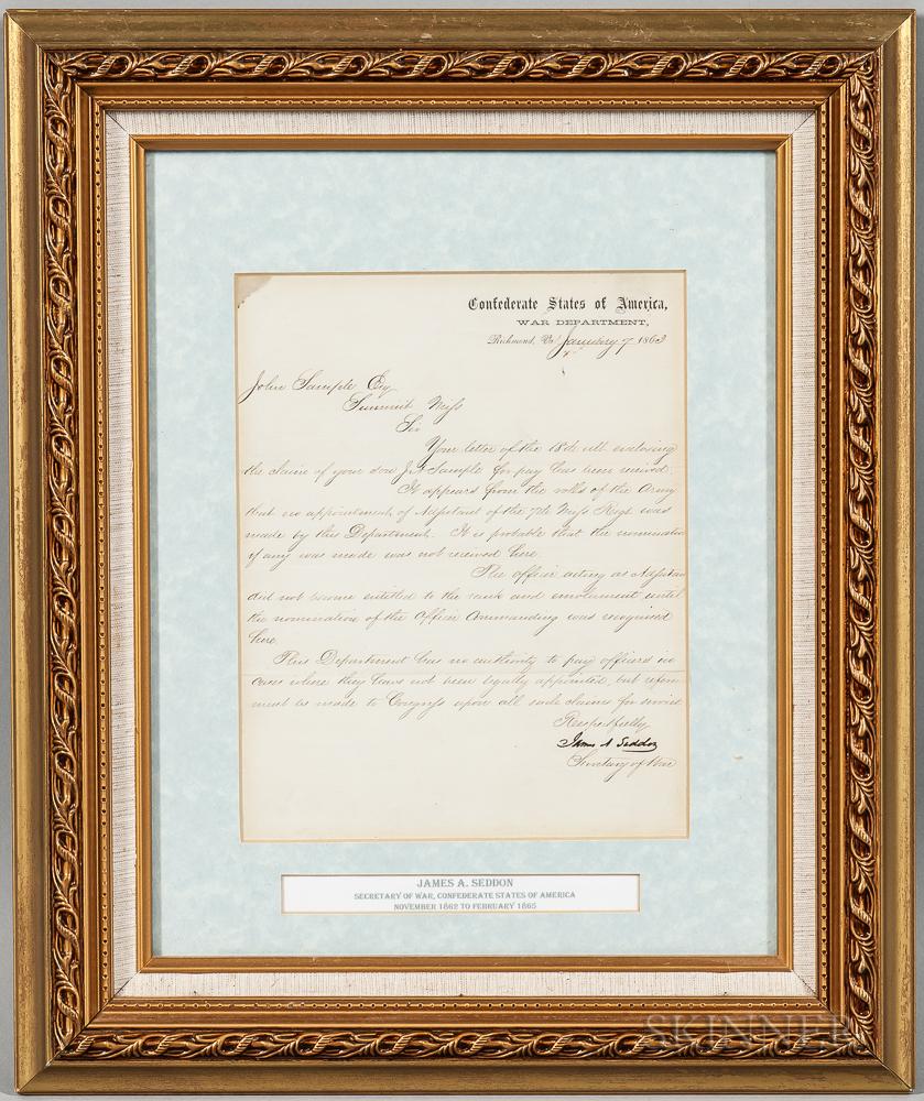 Confederate Secretary of War James Seddon Document