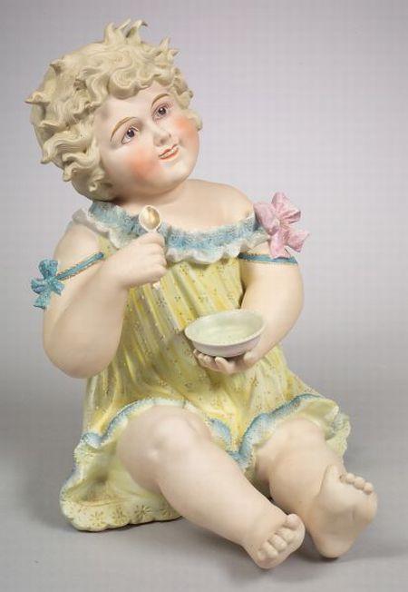 "Very Large Seated Girl ""Piano Baby"" Figurine"