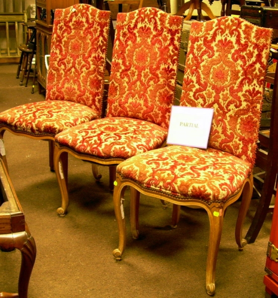 Set of Five Louis XV Style Upholstered Carved Beechwood Side Chairs.