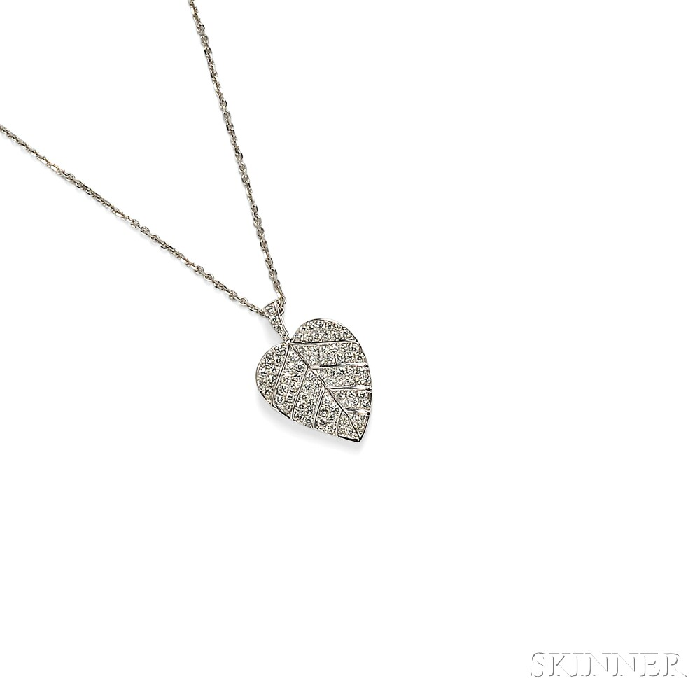 18kt White Gold and Diamond Leaf Pendant