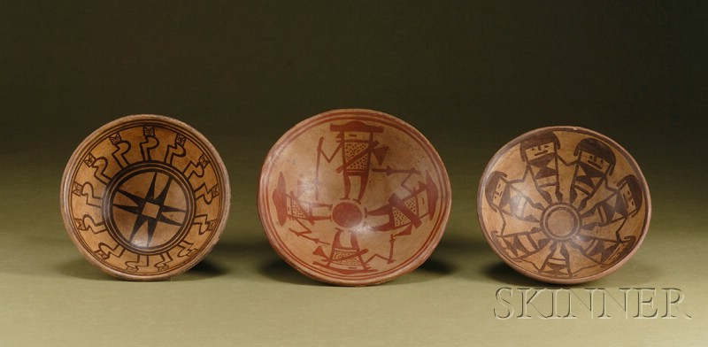 Three Pre-Columbian Painted Pottery Bowls