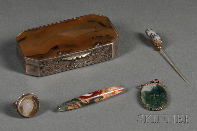 Five Agate and Metal-mounted Articles