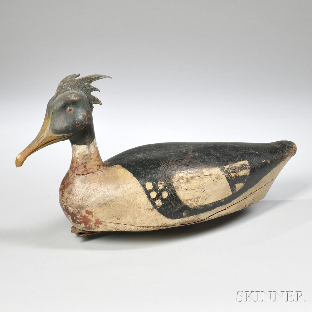 Carved and Painted Red-breasted Merganser Drake Decoy