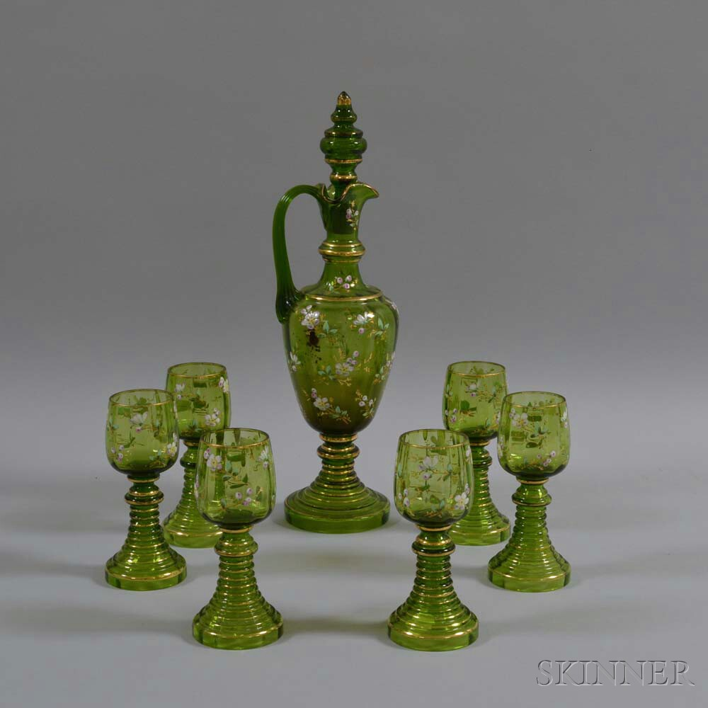 Seven-piece Bohemian Enameled Glass Drinking Set
