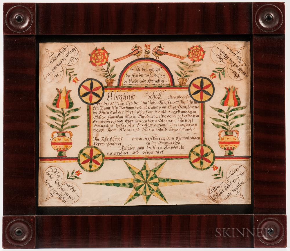 Watercolor Birth Certificate Fraktur for Abraham Scholl