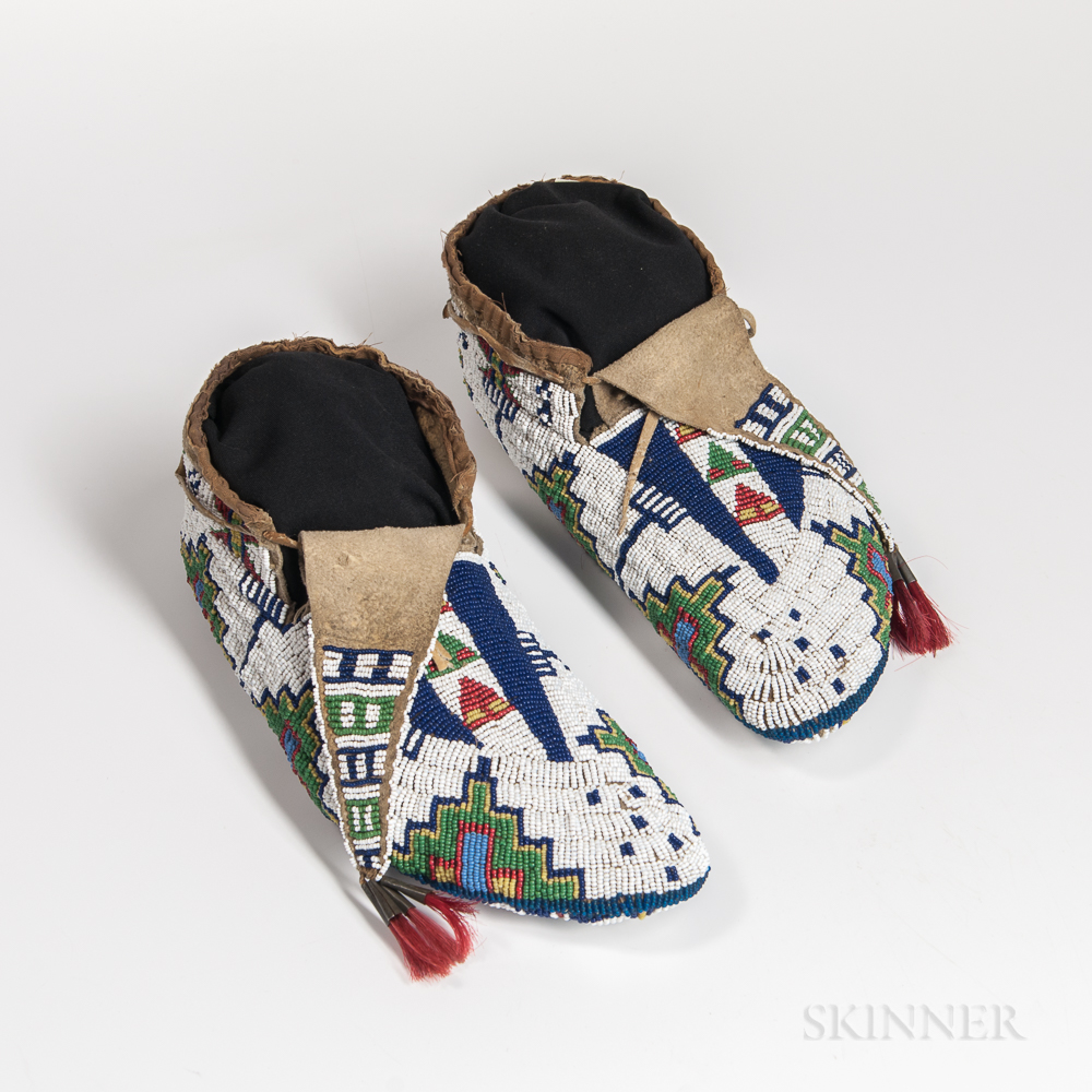 Pair of Fully Beaded Plains Moccasins
