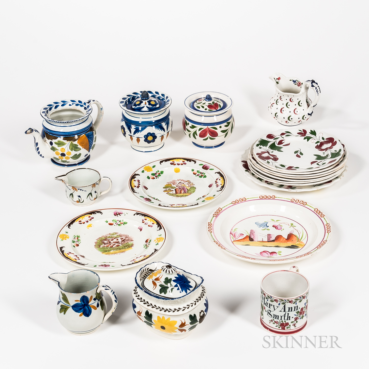 Group of Staffordshire and Pearlware Tableware Items