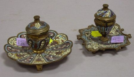 Two French Champleve Enamel Inkwells.