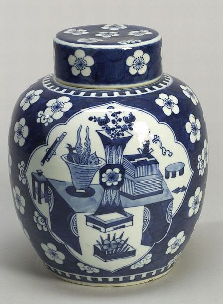 Blue and White Ginger Jar and Cover