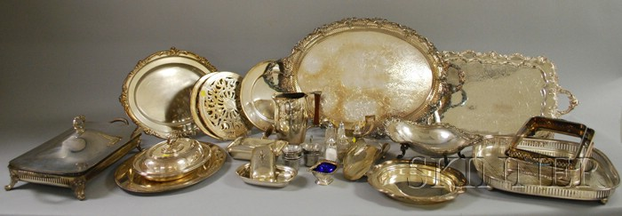 Approximately Twenty-five Silver Plated Serving Pieces