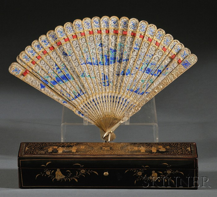 Chinese Export Parcel Gilt Silver, Filigree, and Cloisonne Enamel Fan in Lacquer   Case,