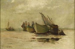 Edward A. Page (American, 1850-1928)  Beached Dories, Lynn, Massachusetts