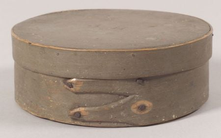 Gray-painted Covered Wooden BoxGray-painted Covered Wooden Box