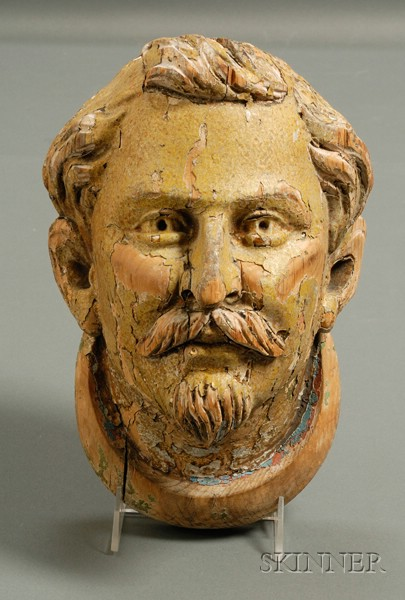 Carved Wooden Head of Man