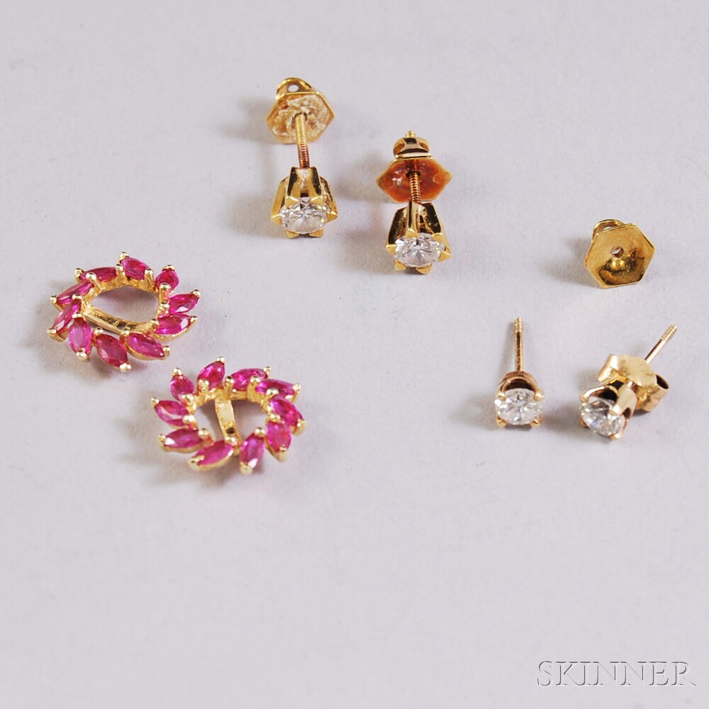 Two Pairs of Diamond Earstuds and a Pair of 14kt Gold and Pink Gemstone Jackets