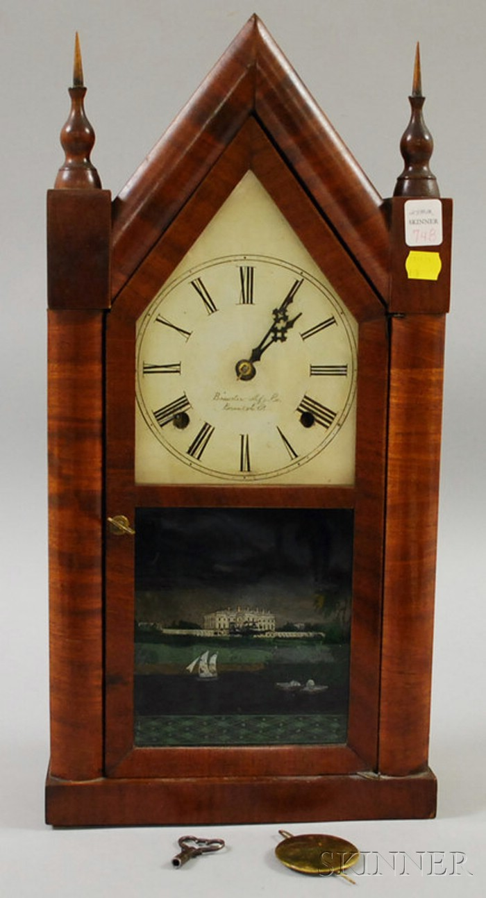 Mahogany Steeple Clock by Brewster Manufacturing Company