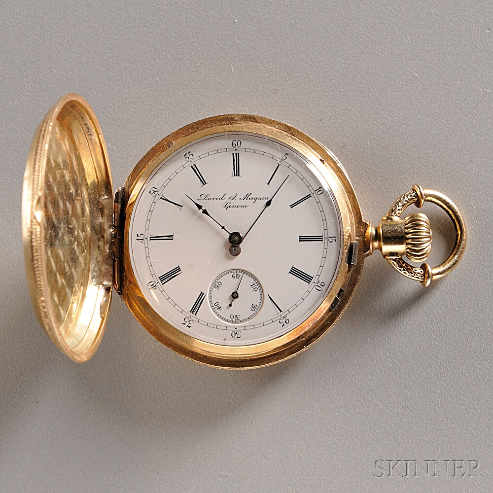 David F. Magnin 18kt Gold Hunting Case Watch