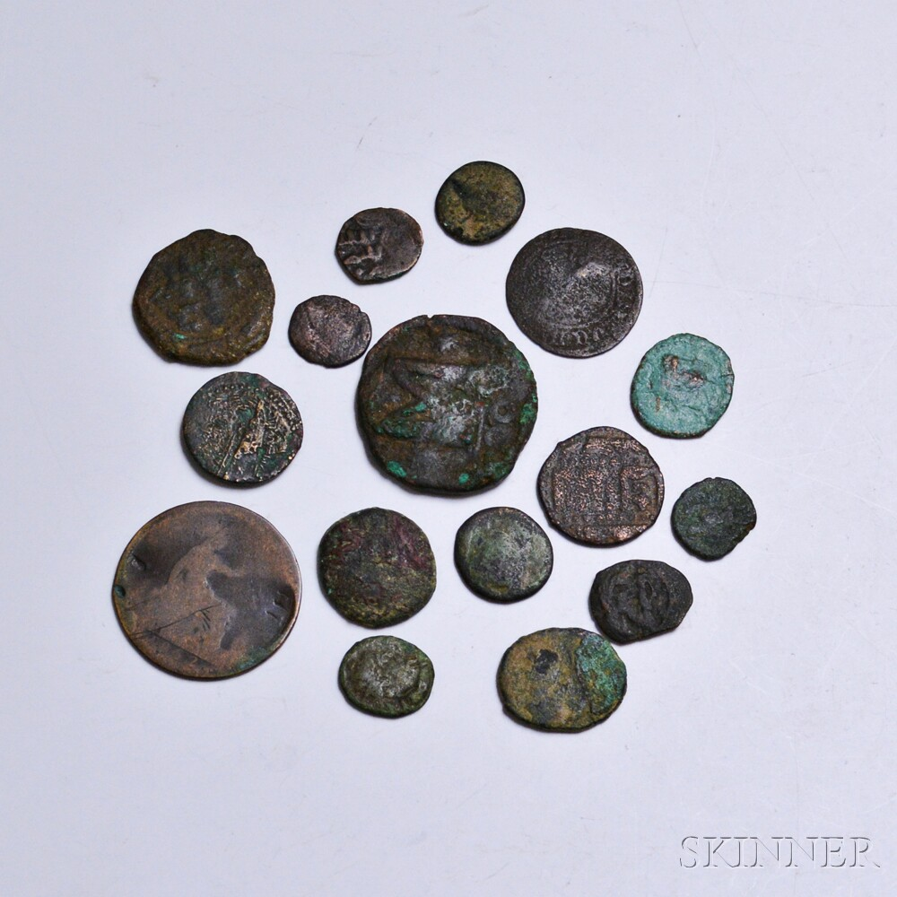 Sixteen Mostly Ancient Coins.     Estimate $10-20
