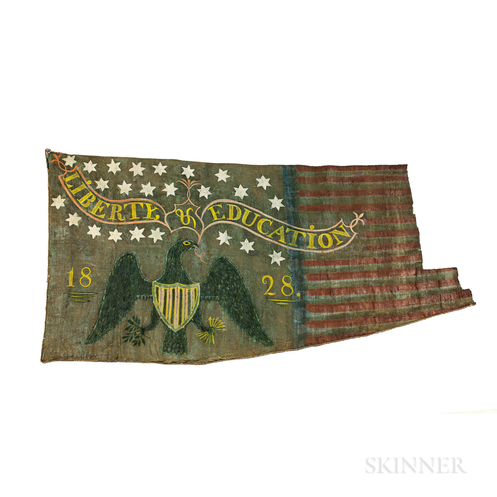 """Two-sided Painted """"Liberty & Education"""" Banner"""