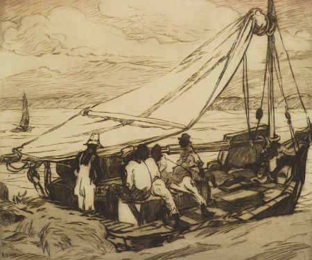 Lot of Three Prints:  George Pearse Ennis (American, 1884-1936), Fishing Boat