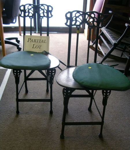 Set of Four Art Deco Cast Iron and Metal Folding Chairs.