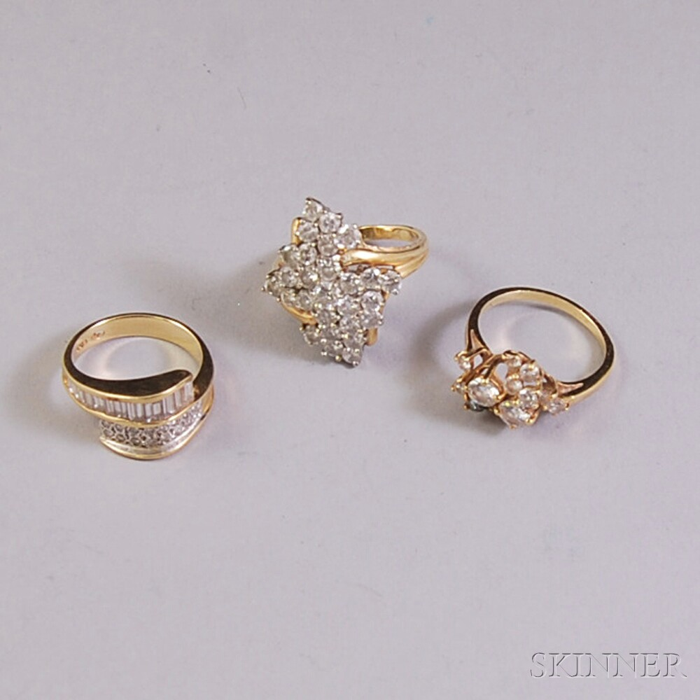 Three Assorted 14kt Gold and Diamond Rings