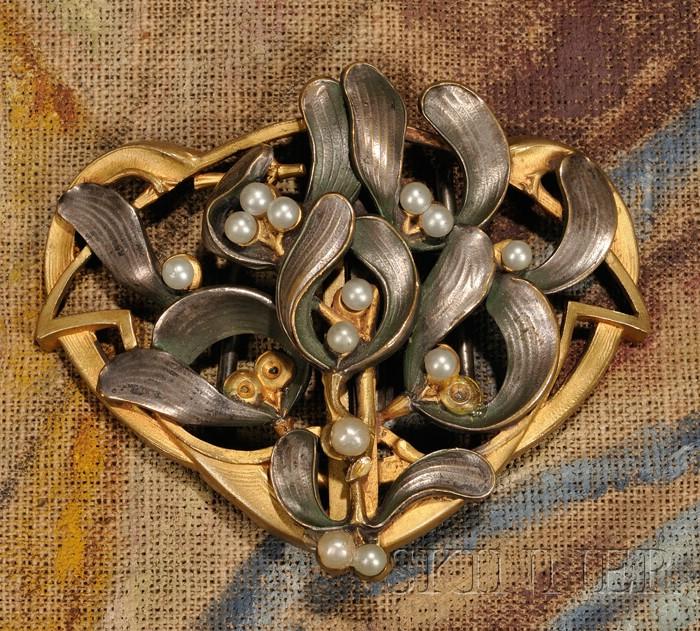 Art Nouveau Mistletoe Belt Buckle