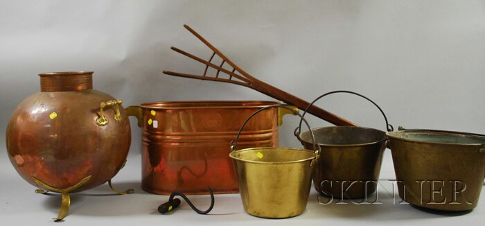 Seven Wood and Metal Decorative and Domestic Items