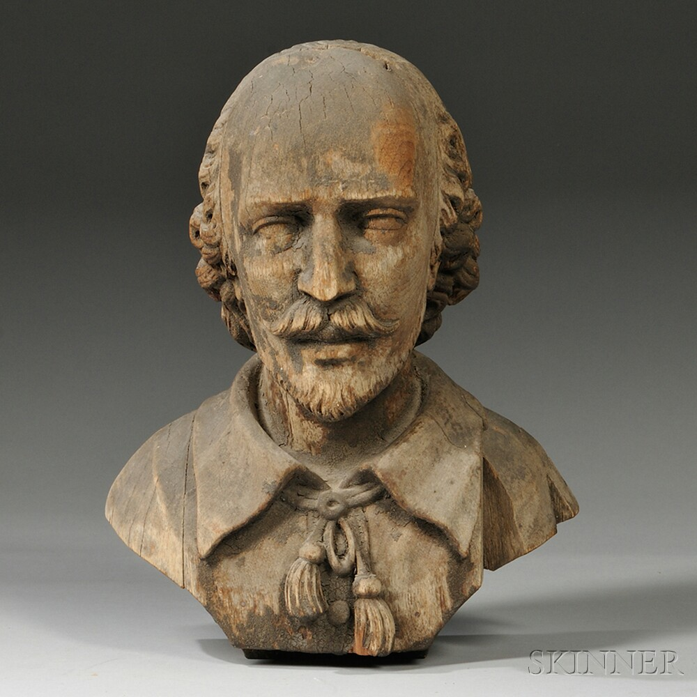 Gray-painted Carved Pine Bust of William Shakespeare