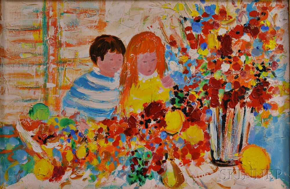Attributed to Willering Epko (French, b. 1928)      Two Children with Flowers