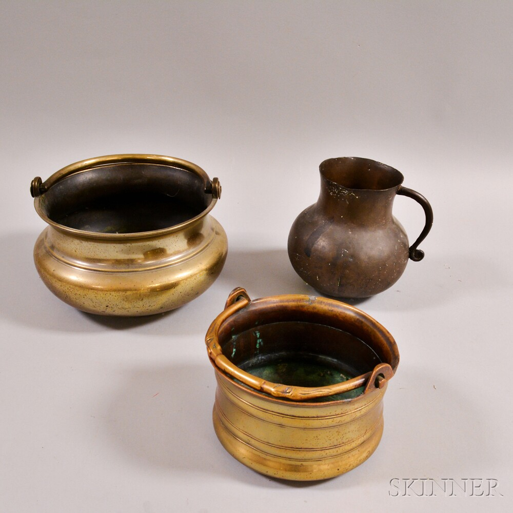 Three Continental Brass and Bronze Vessels