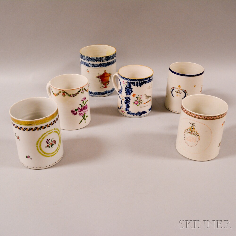 Six Chinese Export Porcelain Mugs