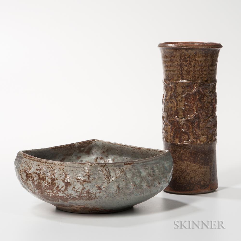 Makoto Yabe (1947-2005) Mishima Studio Pottery Bowl and Vase