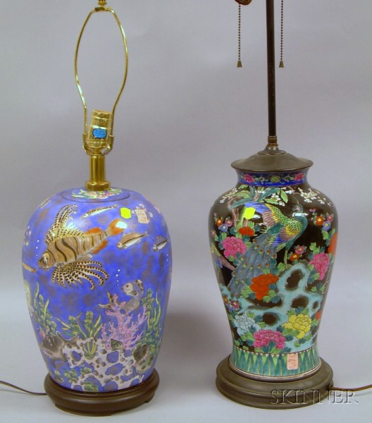 Chinese Porcelain Sea Life Decorated Porcelain Jar/Table Lamp and a Famille Noir Bird and Floral Decorated Porc...