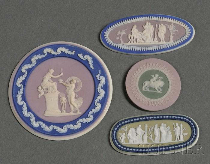 Four Wedgwood Three-Color Jasper Dip Medallions