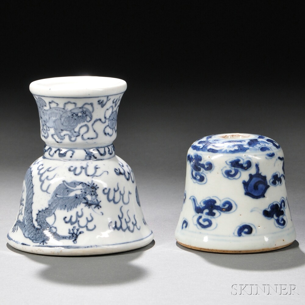 Blue and White Incense Holder and Scroll Weight