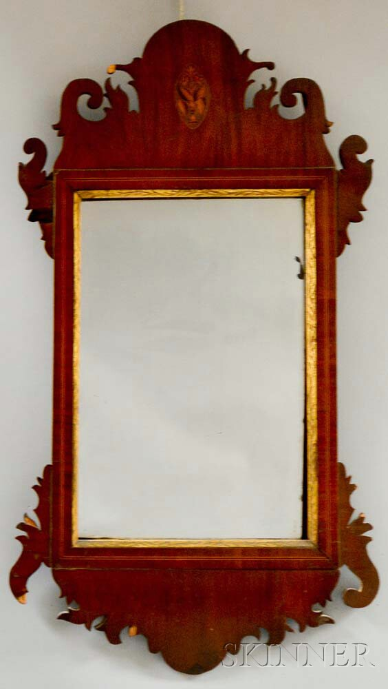 Federal Inlaid Mahogany Veneer Scroll-frame Mirror