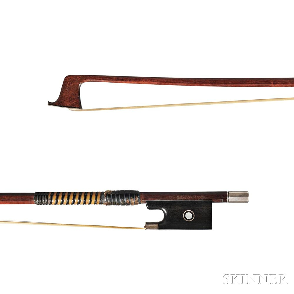 French Silver-mounted Violin Bow, Bernard Ouchard