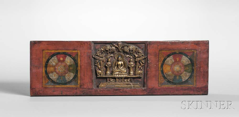 Manuscript Cover with Carved Medicine Buddha