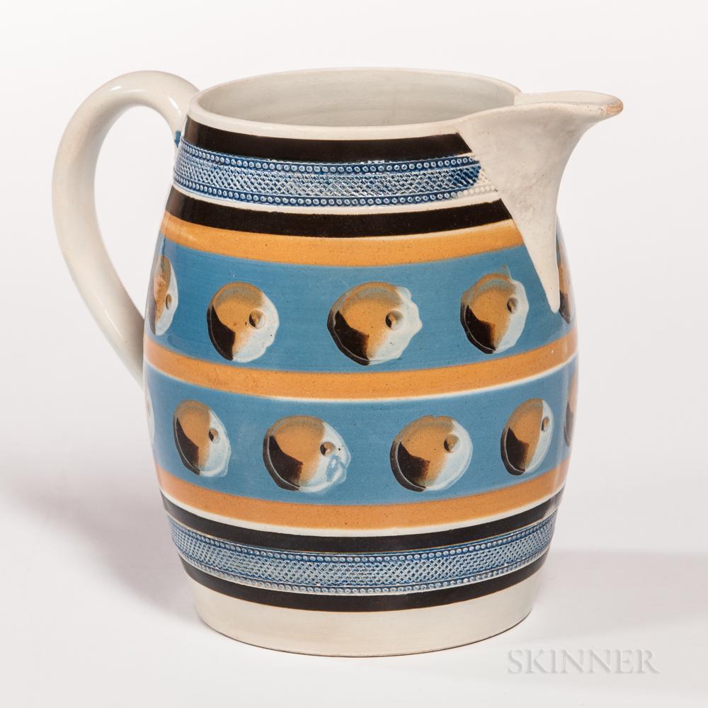 Mocha-decorated Pearlware Barrel-form Pitcher