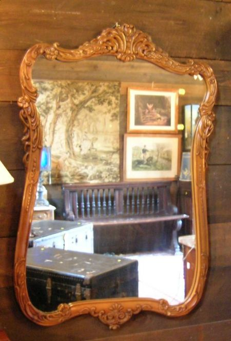Rococo-style Carved Wood Mirror.
