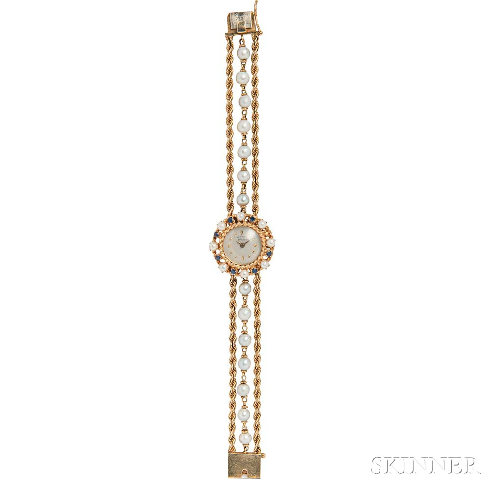 14kt Gold, Cultured Pearl, and Sapphire Wristwatch, Peter Bisot