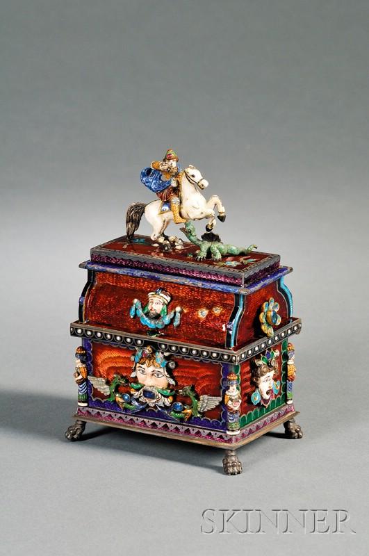 European Renaissance Revival Silver, Enamel, and Stone-set Jewel Casket