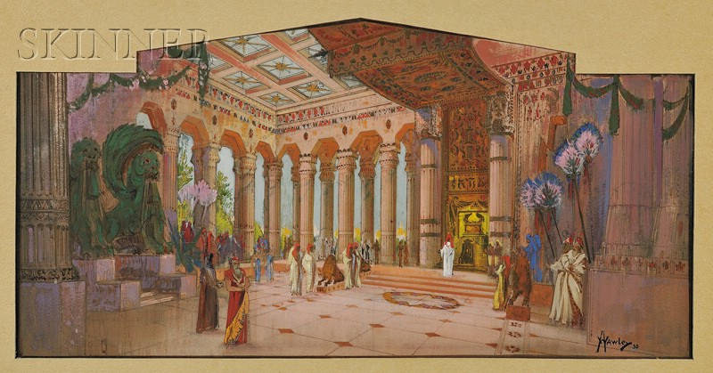 Attributed to Hughson Hawley  (American, 1850-1936)      Interior of an Egyptian Revival Hall