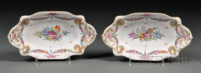 Pair of Sevres-style Porcelain Side Dishes